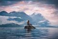 Picture vista, girl, rock, sky, landscape, nature, panorama, water, cloud, beautiful, calm, mountains, lake, island, mist, ...