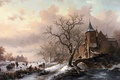 Picture picture, painting, Castle in a Winter Landscape and Skaters on a Fozen River, painting, Frederik ...