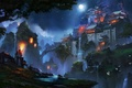 Picture China, Light, Japan, moon, fantasy, game, Nature, Fire, Asian, landscape, Mountain, night, art, scenery, fantastic, ...