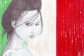 Picture look, face, background, hair, actress, art, hairstyle, pencil, Monica Bellucci