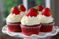 Picture strawberry, plate, cream, cakes, sweet, cupcakes