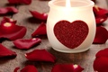Picture Holiday, Candle, Heart, photo, Petals, Valentine's day