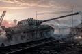 Picture WoT, crane, E75, World of Tanks, haze, trunk, tank, railroad, gun, Germany, dust, sunset