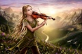 Picture girl, flowers, mountains, birds, nature, river, dawn, violin, hill, fantasy, art