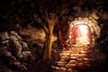 Picture light, the tunnel, art, trees, entrance, arch, output, masonry, the sun, stones