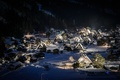 Picture holiday, snow, mountains, winter, home, town, night, forest