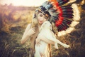 Picture summer, girl, face, beauty, feathers, the beauty, sheep, headdress, lamb