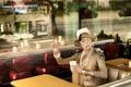 Picture Milla Jovovich, table, Milla Jovovich, cafe