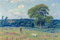 Picture picture, the sky, meadow, Landscape with a hunter and his dog, trees, Henri Sea
