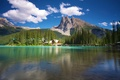 Picture forest, mountains, river, Canada, Canada, houses., Yoho, Emerald