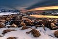 Picture the sky, snow, landscape, sunset