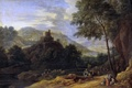 Picture trees, river, hills, tower, picture, Adrian Frans Boudewyns, Landscape with Shepherds