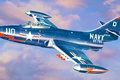 Picture war, art, painting, jet, Grumman F9F Panther, avaition