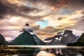 Picture Milford Sound, mountains, clouds, lake, New Zealand, Milford Sound, lake, New Zealand, mountains, clouds