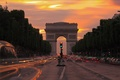 Picture lights, the evening, twilight, Paris, Arch, Champs Elysees