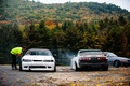 Picture autumn, forest, nissan, drift, white, japan, Nissan, s15, s14, cramps