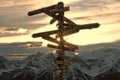 Picture sign, Lake Louise, the sky, sunset, clouds, index
