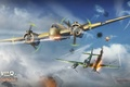 Picture War Thunder, German, Bristol, Messerschmitt, Hornisse, clouds, torpedo, flame, twin-engine, heavy, piston, Hornet, Me.410, fighter, ...