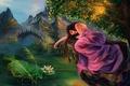 Picture girl, bridge, pond, rocks, stone, Lily, art, Lotus, ladder, fabric, steps, lying, rikamello
