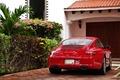 Picture red, Porsche, Porsche Carrera 4, garage, Porsche, the bushes, Porsche