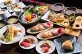 Picture meals, cuts, figure, seafood, fish, abundance, soup, sushi