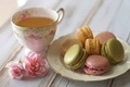 Picture flowers, tea, roses, cookies, plate, Cup, pink, macaron, macaron