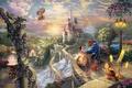 Picture flowers, rainbow, candles, art, art, Belle, lantern, love story, Thomas Kinkade, bridge, watch, waterfall, pair, ...