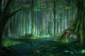 Picture forest, water, drops, rain, mood, anime, weather