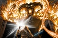 Picture Balrog, Balrog, art, Gandalf, The Lord of the Rings, battle, Gandalf, sword, staff, Moria