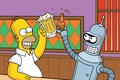 Picture the simpsons, movie, the film, futurama, movies, Homer, bar, Bender, beer