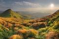 Picture autumn, the sun, clouds, mountains, slope, horizon, bright, widescreen Wallpaper, Autumn