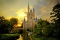 Picture Cinderella Castle, the sky, pond, trees, Castle