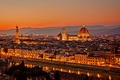 Picture sunset, bridge, the city, lights, view, building, home, the evening, Italy, panorama, Cathedral, Florence, architecture, ...