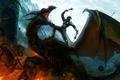 Picture mountains, weapons, fire, dragon, sword, warrior, art, battle, shield, Mace
