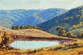 Picture greens, lake, pond, hills, the fence, art, artsaus