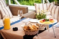 Picture juice, blueberries, berries, raspberry, bread, serving, glasses, Breakfast, pineapples, plates, strawberry, vase, table, apricots, orange, ...
