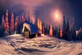 Picture snow, winter, nature, Christmas, the city, lights, new year, night