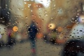 Picture autumn, glass, drops, the city, lights, rain, people, silhouette, bokeh