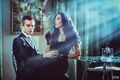 Picture girl, room, smoke, bottle, picture, dress, brunette, cigarette, pair, costume, gloves, guy, curtains, table, rays ...