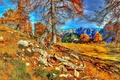 Picture hdr, mountains, trees, of the trees, Slovenia, roots, the sky, autumn