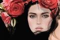 Picture eyes, girl, face, hair, roses, brunette, wreath