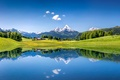 Picture The sky, Nature, Meadows, Mountains, Lake, Switzerland, Alps, Landscape