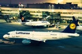Picture the evening, airport, lufthansa