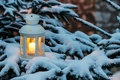Picture holiday, snow, winter, branch, tree, candle, New year, Christmas, Lantern