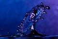 Picture macro, squirt, blue, droplets, background, Water, splash, plop