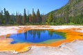 Picture autumn, the sky, trees, mountains, lake, USA, geyser, Yellowstone National Park