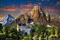 Picture mountains, trees, castle, Neuschwanstein, lake, clouds, the sky, landscape, sunset