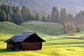 Picture house, slope, mountains, nature, grass, forest