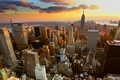 Picture clouds, sunset, the city, building, new york city