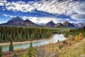 Picture Banff, Bow River, river, mountains, trees, Alberta, Canada, railroad, clouds, the sky, Banff National Park, ...
